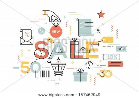 Modern vector illustration concepts of word sale. Thin line flat design banners for website and mobile website, easy to use and highly customizable.