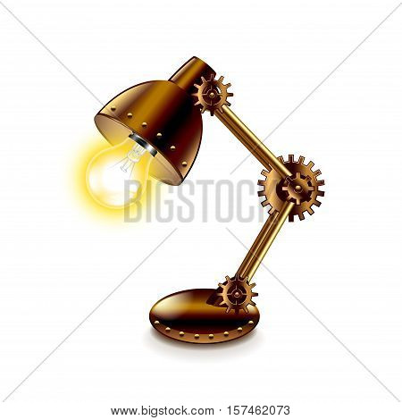 Steampunk lamp isolated on white vector illustration