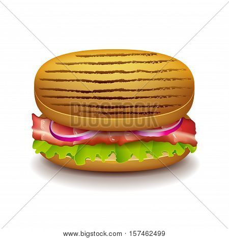 Grilled sandwich isolated on white photo-realistic vector illustration
