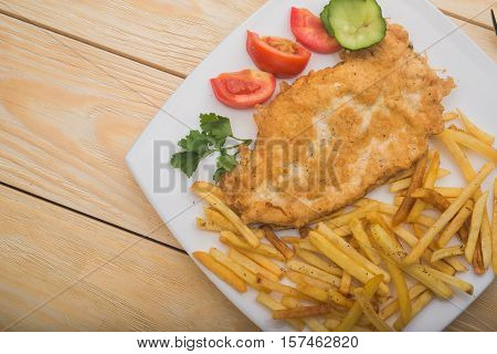 Hearty Breakfast With Boiled Potatoes And Chicken Chop