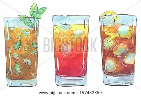 Hand Drawn Set Of Watercolor Cocktails Long Island Iced Tea Sex On The Beach Mai Tai On White Backgr