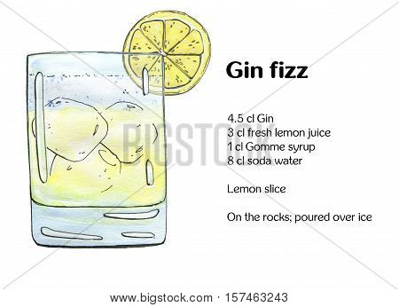 Hand Drawn Watercolor Cocktail Gin Fizz On White Background