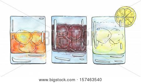 Hand Drawn Set Of Watercolor Cocktails Godfather French Connection Black Russian Gin Fizz On White B