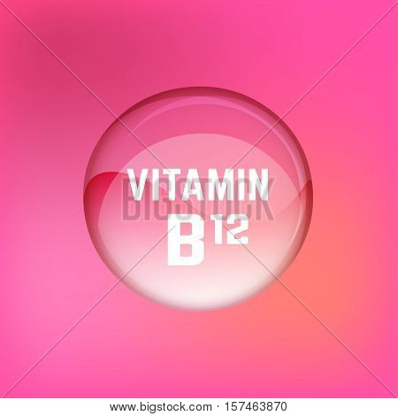 Vitamin B12 pill. Shining glossy circle droplet. Vector illustration in pink and light magenta colours. Medical and pharmaceutical image.