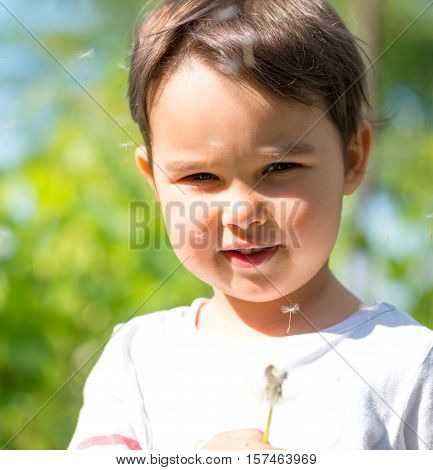 little girl blowing the fluff off a dandelion head