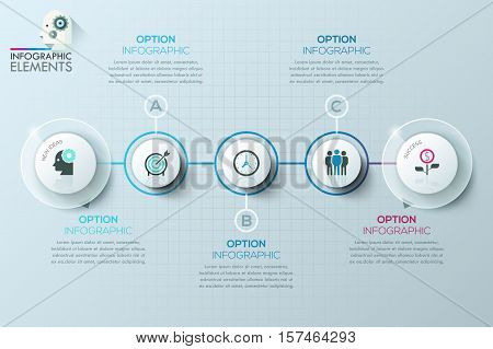Modern business circle origami style options banner. Can be used for workflow layout, banner, diagram, web design, presentations. infographic template.
