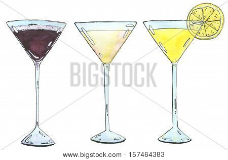 Hand Drawn Set Of Watercolor Cocktails Espresso Martini Golden Dream Lemon Drop Martini On White Bac