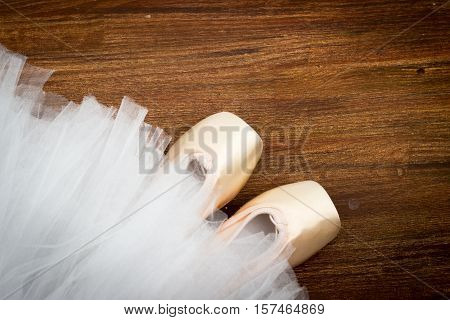 pointe shoes on the background Tutu ballet
