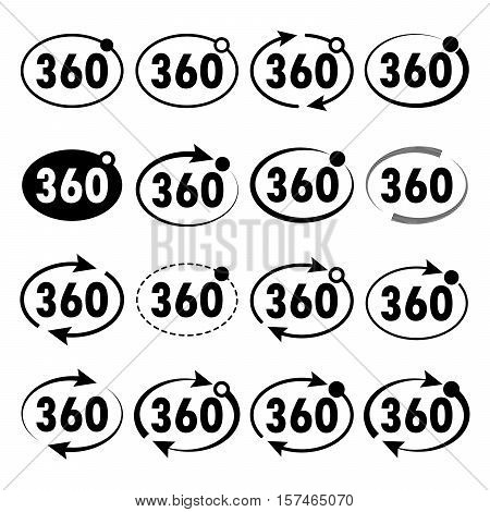 Three hundred sixty degrees view signs on light background. Set of 360 degrees icon. Vector illustration.