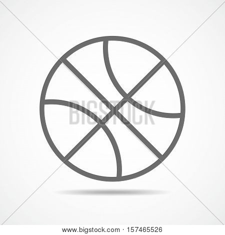 Basketball ball icon in flat style. Vector illustration. Gray basketball ball isolated on white background.