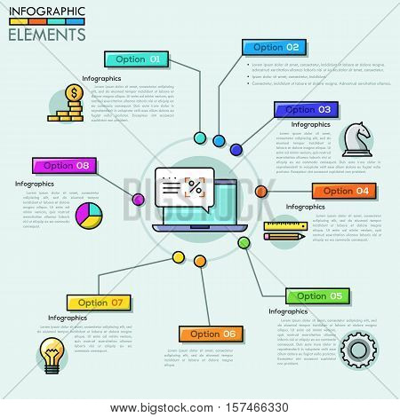 Vector Company infographic overview design template in thin line style. Can be used for workflow layout, diagram, number options, web design, timeline.