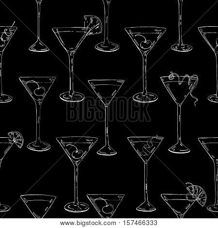 Hand Drawn Graphic Seamless Pattern Cocktails With Fruits And Berries On Black Background