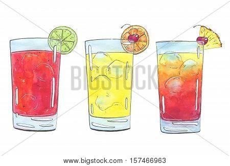 Hand Drawn Set Of Graphic Watercolor Cocktails Sea Breeze Harvey Wallbanger Planter's Punch On White