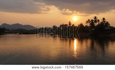 Sundown on Ban Khone village, Don Khone Island within the Mekong river, Laos, Asia