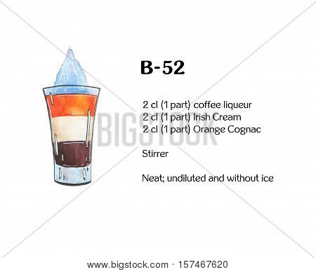 Hand Drawn Watercolor Cocktail B 52 B52 Bifi On White Background