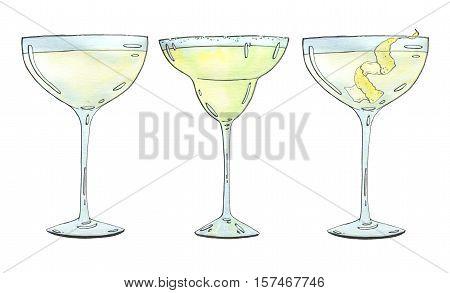 Hand Drawn Set Of Watercolor Cocktails Margarita Vesper On White Background