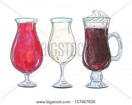 Hand Drawn Set Of Watercolor Cocktails Singapore Sling Pina Colada Irish Coffee On White Background