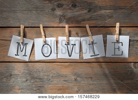 Movie spelt using notes hanging on washing line