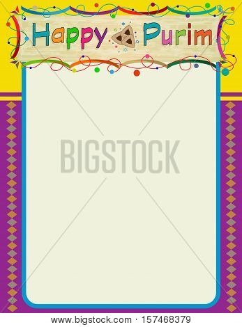 Happy Purim colorful and decorative blank sign. Eps10