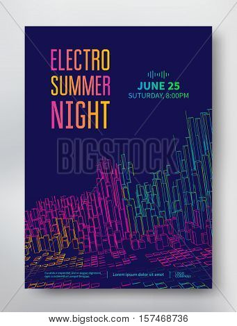 Electro summer night poster template with colored rectangles in the form of linear city and EQ