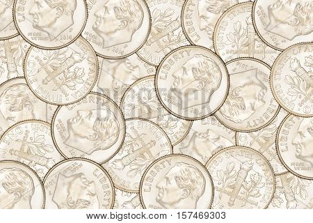 Dime Coins Background