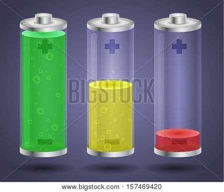 Fully charged and discharged batteries - vector illustration. Isolated objects on a blue background