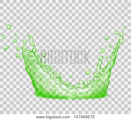 Transparent Green Crown From Splash Of Water