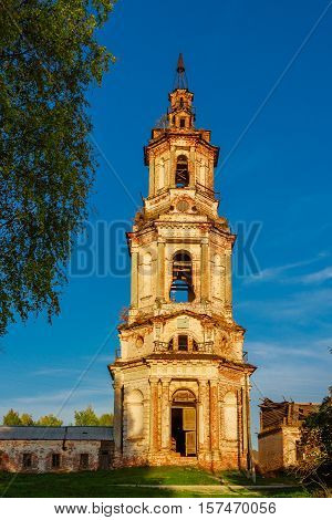 View of ruined Holy Trinity Church in Sredneivkino. Russia