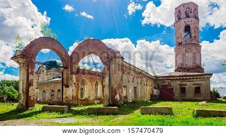 View of ruined Saint Nicholas Cathedral in Nolinsk. Russia