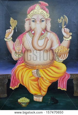 DELHI, INDIA - FEBRUARY 13 : Mythological elephant god - Ganesh on the wall, Delhi, India on February 13, 2016.