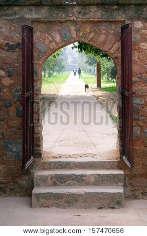 DELHI, INDIA - FEBRUARY 13 : Entrance of Isa Khan tomb, Humayun's tomb complex, Delhi, India on February 13, 2016