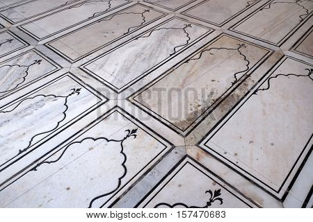 DELHI, INDIA - FEBRUARY 13 : Pattern of marble floor in Jama Masjid Mosque on February 13, 2016, Delhi, India.