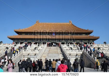 BEIJING - FEBRUARY 23:  The gate of Supreme Harmony in the Forbidden City, Beijing, China, February 23, 2016.