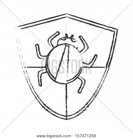 shield and bug icon. Security system warning protection and danger theme. Isolated design. Vector illustration