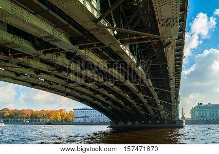 Trinity Bridge - bascule bridge across the Neva in St Petersburg Russia. It was the third permanent bridge in St Petersburg across the Neva. Industrial closeup view of construction elements