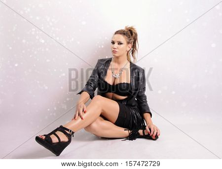 beautiful youотраng girl on the abstract background