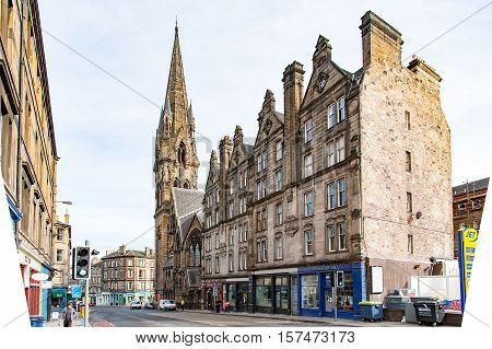Edinburgh, Scotland, UK-circa July 2016:Barclay Viewforth Church of Scotland in the Bruntsfield PL