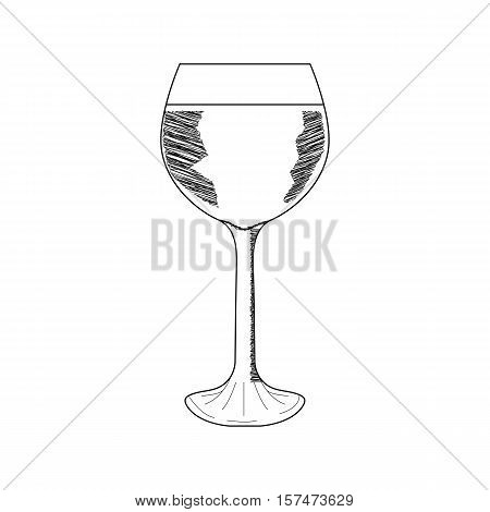 Wine glass, sketch, isolated on white background. Hand drawn illustration.