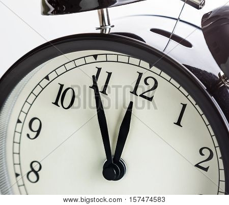 Vintage Alarm Clock Is Showing Midday Or Midnight. It Is Twelve O'clock, Holiday Happy New Year Fest