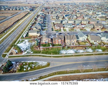 A new house development along Front Range in northern Colorado, aerial view