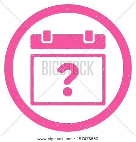 Unknown Date grainy textured icon inside circle for overlay watermark stamps. Flat symbol with dust texture. Circled dotted vector pink ink rubber seal stamp with grunge design on a white background.