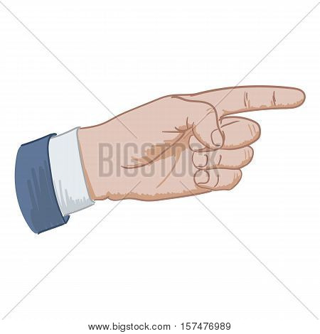hand sign pointing hand drawing on a white background