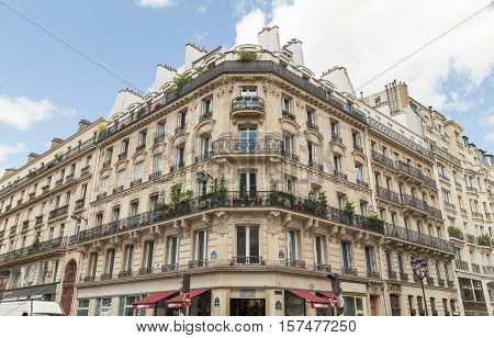 PARIS FRANCE - 29TH JULY 2016: The outside of typical architecture in central Paris during the day