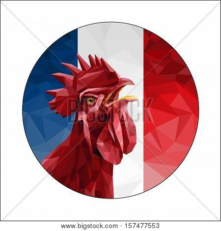2017 Happy New Year. Red rooster on the background of the flag of France. Chinese New Year of the Rooster. Vector illustration.