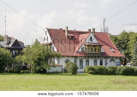 ZAKOPANE POLAND - SEPTEMBER 13 2016: Villa Ochotnicki. The building dating from 1910 and it can be seen from the park side