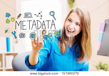 Metadata concept with young woman in her home office