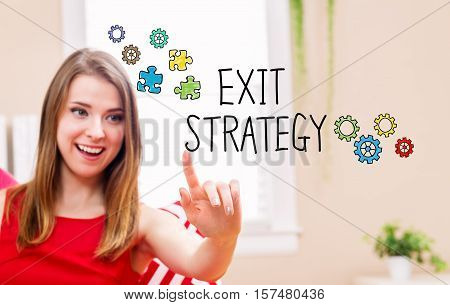 Exit Strategy Concept With Young Woman