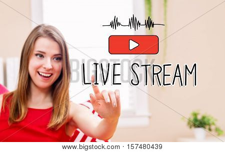Live Stream Concept With Young Woman