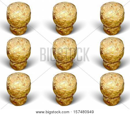 champagne cork column formation white background macro