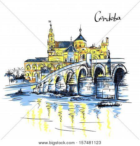 Vector color Great Mosque Mezquita - Catedral de Cordoba and Roman bridge across Guadalquivir river, Cordoba, Andalusia, Spain